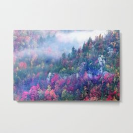 Fog over a colorful fall mountain forest Metal Print
