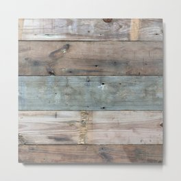 Rustic Western Country Barnwood Farmhouse Chic Grey Teal Beige Beach Wood Metal Print