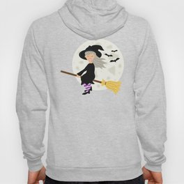 Cute Halloween Witch Girl Flying Cartoon Illustration Hoody