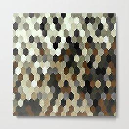 Honeycomb Pattern In Neutral Earth Tones Metal Print
