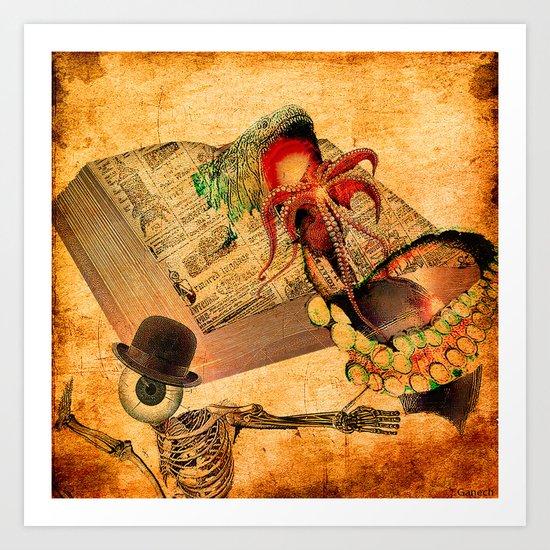 Monsieur Bone in the book of the deaths Art Print