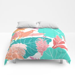 Coral Ginger Flowers + Elephant Ears in White Comforters