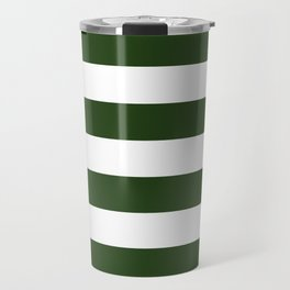 Large Dark Forest Green and White Cabana Tent Stripes Travel Mug