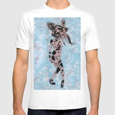 Pinup Girls on a Damask Mens Fitted Tee MEDIUM White