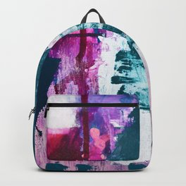 Complexity: a pretty abstract mixed-media piece in teal and purple by Alyssa Hamilton Art Backpack