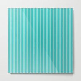 Bright Aqua and Turquoise Stripes Metal Print
