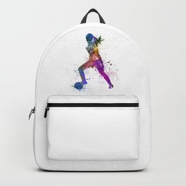 Girl playing soccer football player silhouette Backpack