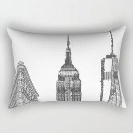 New York City Iconic Buildings-Empire State, Flatiron, One World Trade Rectangular Pillow