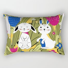 Cute bunnies in the meadow Rectangular Pillow