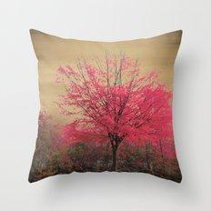 Pink Tree Throw Pillow