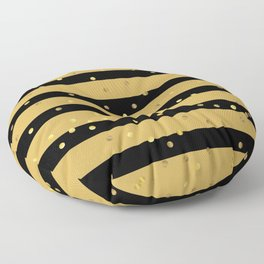 Christmas Golden confetti on Gold and Black Stripes Floor Pillow