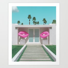 Modern Palm Springs Home with Pink Lip Floaties at the Door Art Print