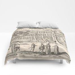 Vintage Map of Edinburgh Scotland (1581) Comforters