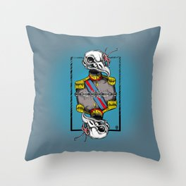 General Bird Skull Throw Pillow