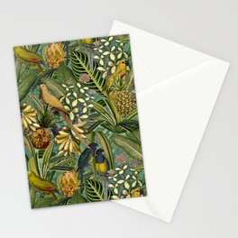 Vintage & Shabby Chic - Green Tropical Bird Flower Garden Stationery Cards