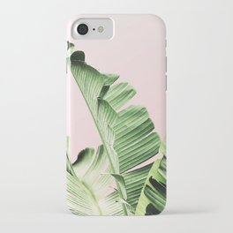 Banana Leaf on pink iPhone Case