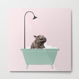 Hippo Enjoying Bubble Bath Metal Print