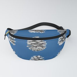 Monochrome Pine Cones Winter Blue Fanny Pack