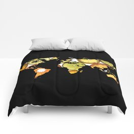 World Map Silhouette - Citrus Fruits Comforters