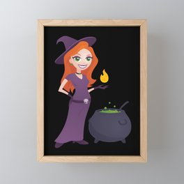 Pretty Witch with Cauldron Framed Mini Art Print