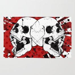 Grunge Screaming Skulls Rug