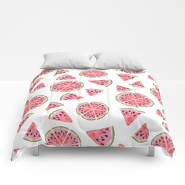 Modern pink green watercolor hand painted watermelon pattern Comforters