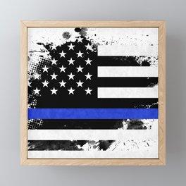 Distressed Thin Blue Line American Flag Framed Mini Art Print
