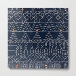 N53 - Blue Indigo Oriental Antique Traditional Moroccan Style Artwork Metal Print