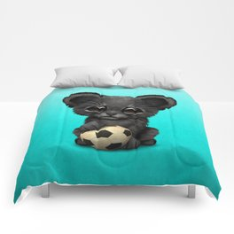 Black Panther Cub With Football Soccer Ball Comforters