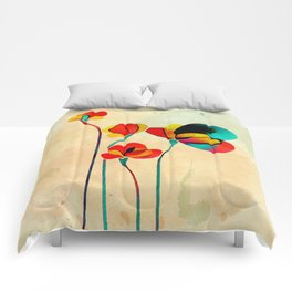Exotic Watercolor Flower Comforters