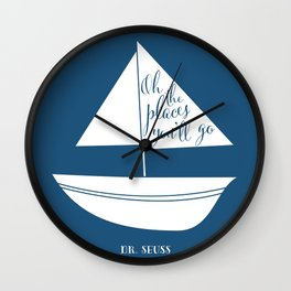Dr Seuss Oh the Places you'll go navy sail boat Wall Clock