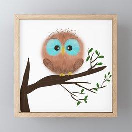Fluffy owl. Framed Mini Art Print