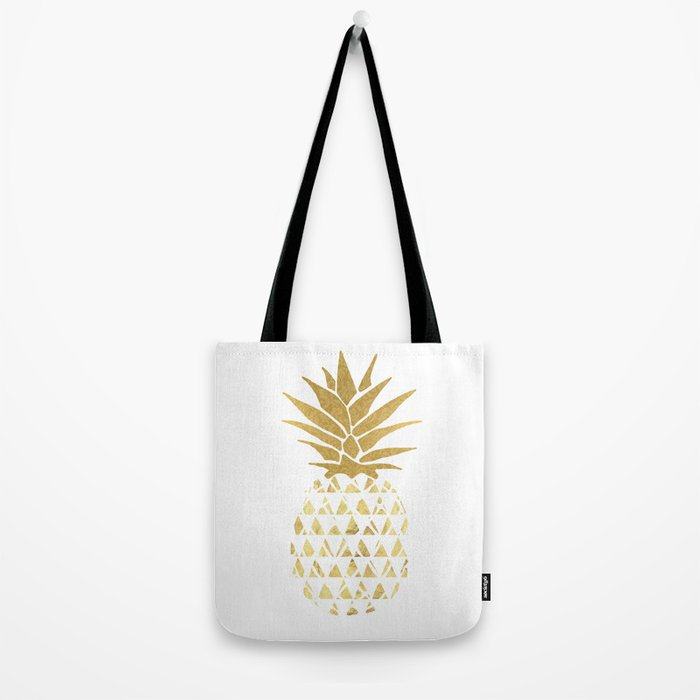 white & gold pineapple Tote Bag