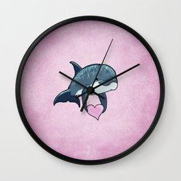 Love Ya! ~ Baby Dolphin by Amber Marine ~ Pink ~ (Copyright 2014) Wall Clock