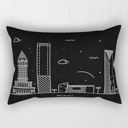 Miami Minimal Nightscape / Skyline Drawing Rectangular Pillow