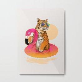 Chillin (Flamingo Tiger) Metal Print