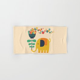 Elephant with giant flower Hand & Bath Towel