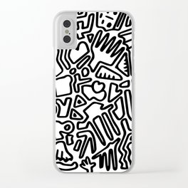 black & white doodle Clear iPhone Case