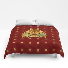 Gold Double Happiness Symbol with  birds Comforters