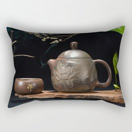 Japanese Teapot with Lotus Blossom Flower Rectangular Pillow