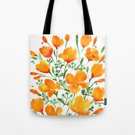 Watercolor California poppies Tote Bag