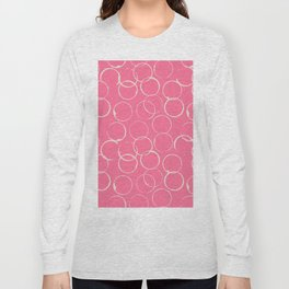 Circles Geometric Pattern Pink Antique White Long Sleeve T-shirt