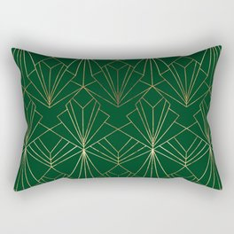 Art Deco in Gold & Green Rectangular Pillow