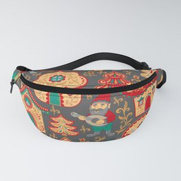 Fairy gnomes and magic houses.  Christmas trees, months and stars. Pattern in folk style. Fanny Pack