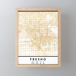 FRESNO CALIFORNIA CITY STREET MAP ART Framed Mini Art Print