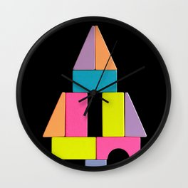 Imaginary construction of colorful wooden blocks Wall Clock