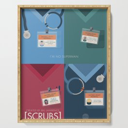 Alternative Scrubs poster, coats, John Dorian, JD, Turk, Carla Espinosa, Elliot Reid, Zach Braff, Bill Lawrence Serving Tray