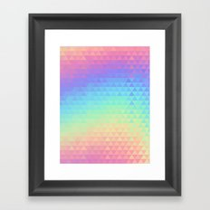 Holographic geometric vector background. 80s and 90s fashion design Framed Art Print