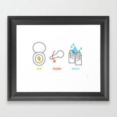 Aim. Flush. Wash. Framed Art Print