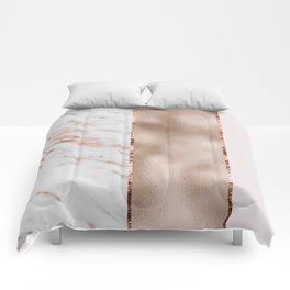 Rose metallic striping - marble and blush Comforters